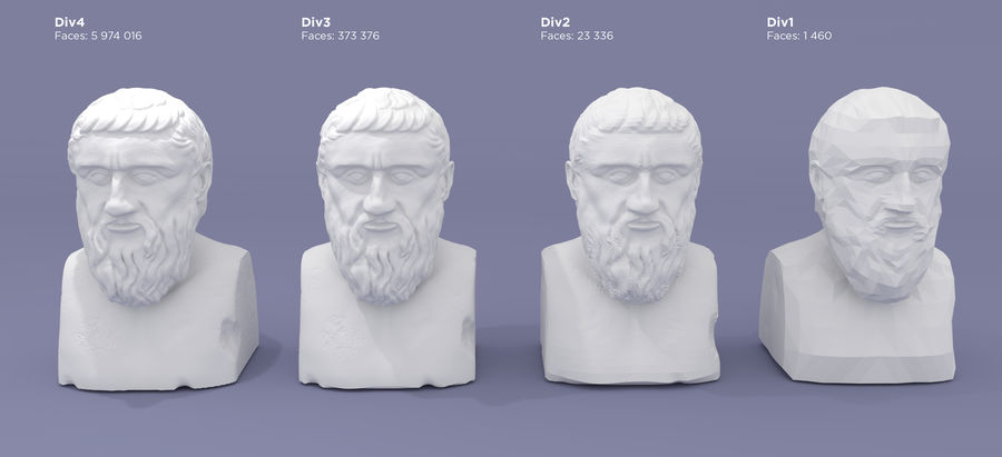 Plato Bust royalty-free 3d model - Preview no. 10
