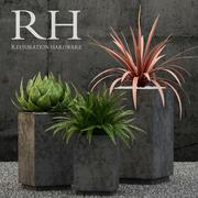 Restoration Hardware cube sheet metal planters 3d model