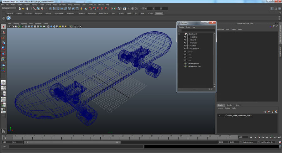 Klassisches Skateboard generisch royalty-free 3d model - Preview no. 11