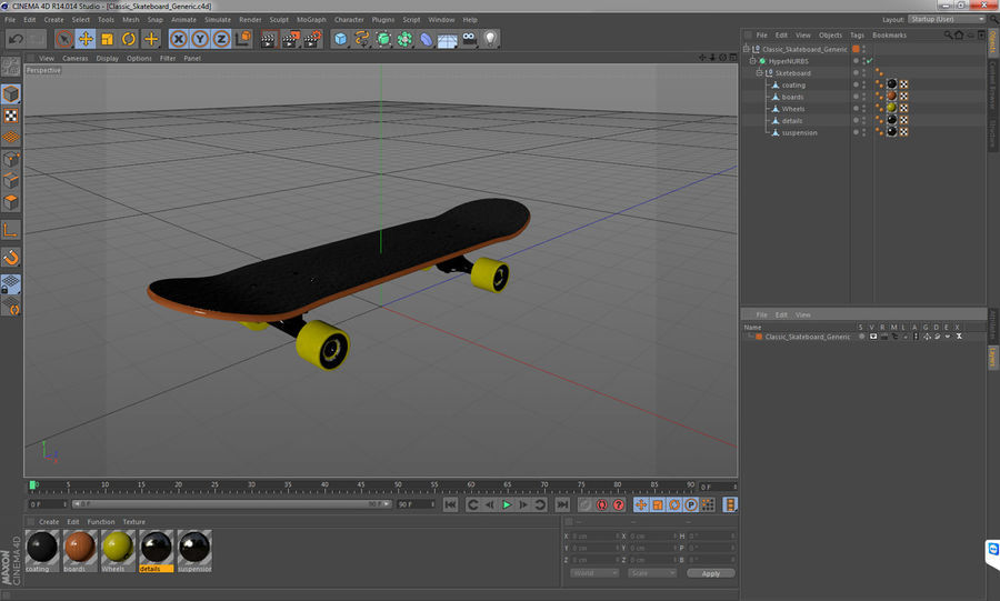 Klassisches Skateboard generisch royalty-free 3d model - Preview no. 12