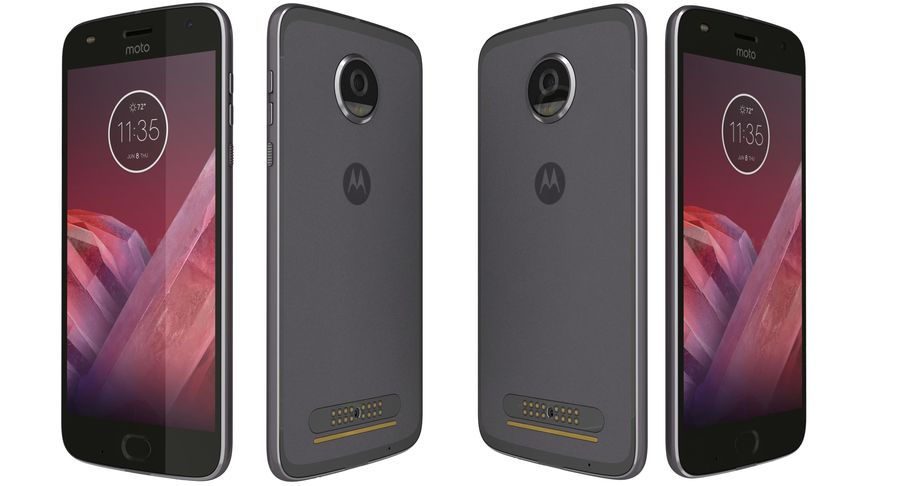 Motorola Moto Z2 Play Lunar Gray royalty-free 3d model - Preview no. 5