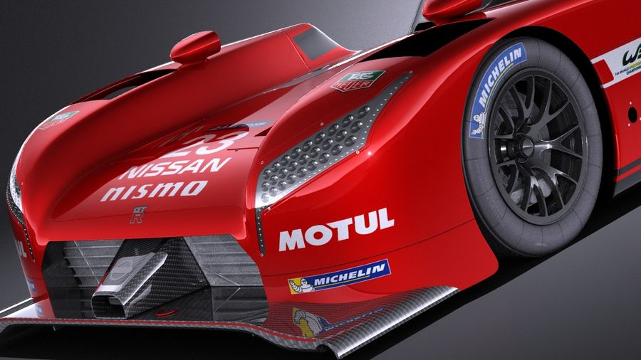 Nissan GT-R LM Nismo Race car 2016 VRAY royalty-free 3d model - Preview no. 3