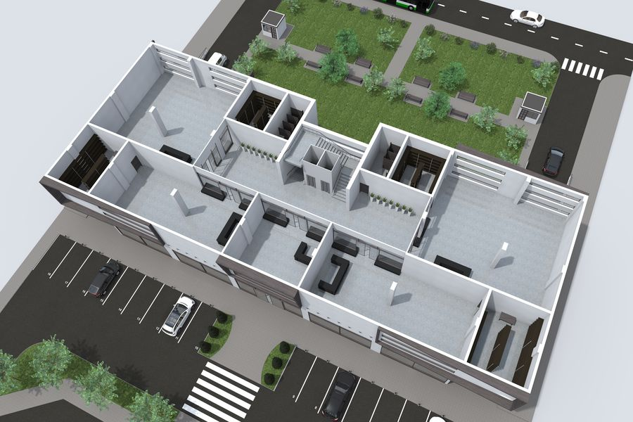 Shopping Mall royalty-free 3d model - Preview no. 8