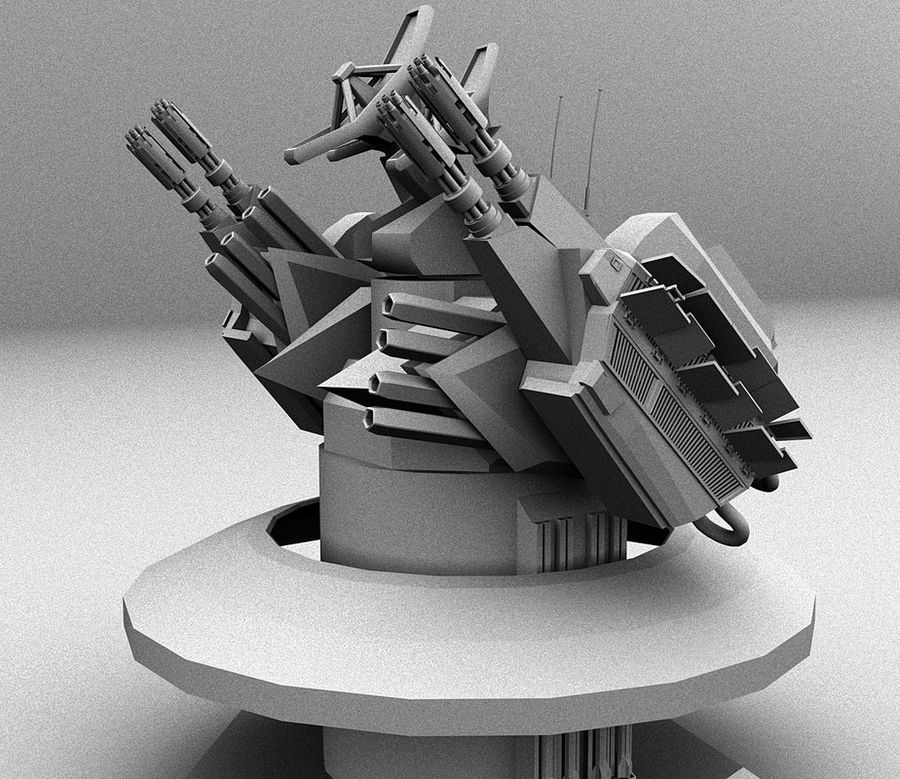 CIWS Turret royalty-free 3d model - Preview no. 2
