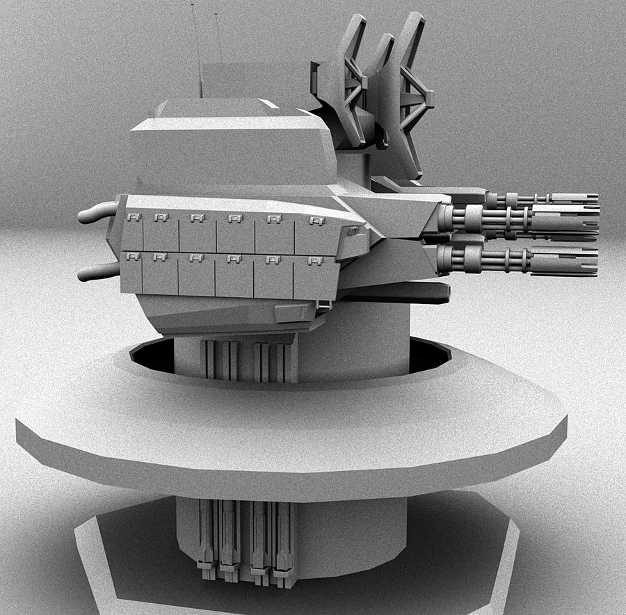 CIWS Turret royalty-free 3d model - Preview no. 3