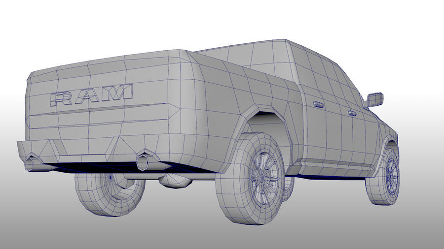 Low Poly Dodge Ram 1500 Rebel royalty-free 3d model - Preview no. 9