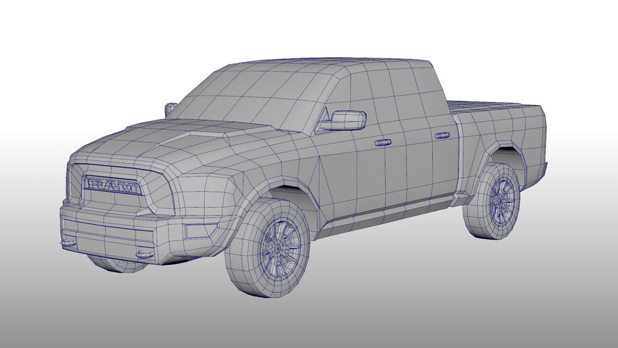 Low Poly Dodge Ram 1500 Rebel royalty-free 3d model - Preview no. 3