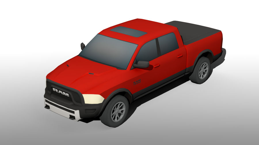 Low Poly Dodge Ram 1500 Rebel royalty-free 3d model - Preview no. 10