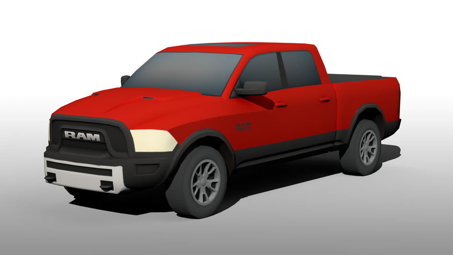 Low Poly Dodge Ram 1500 Rebel royalty-free 3d model - Preview no. 2