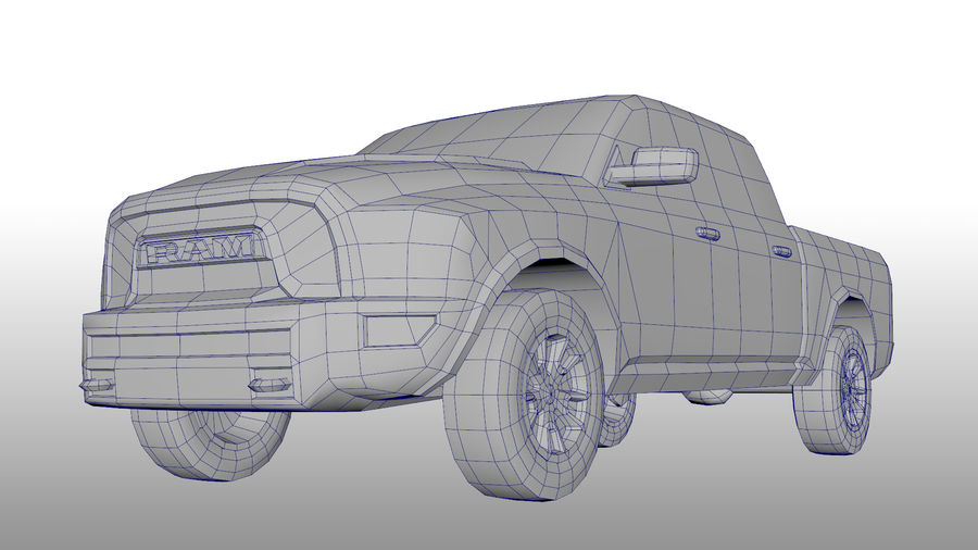 Low Poly Dodge Ram 1500 Rebel royalty-free 3d model - Preview no. 7