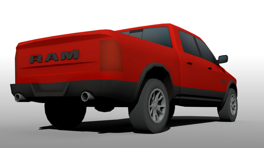 Low Poly Dodge Ram 1500 Rebel royalty-free 3d model - Preview no. 8