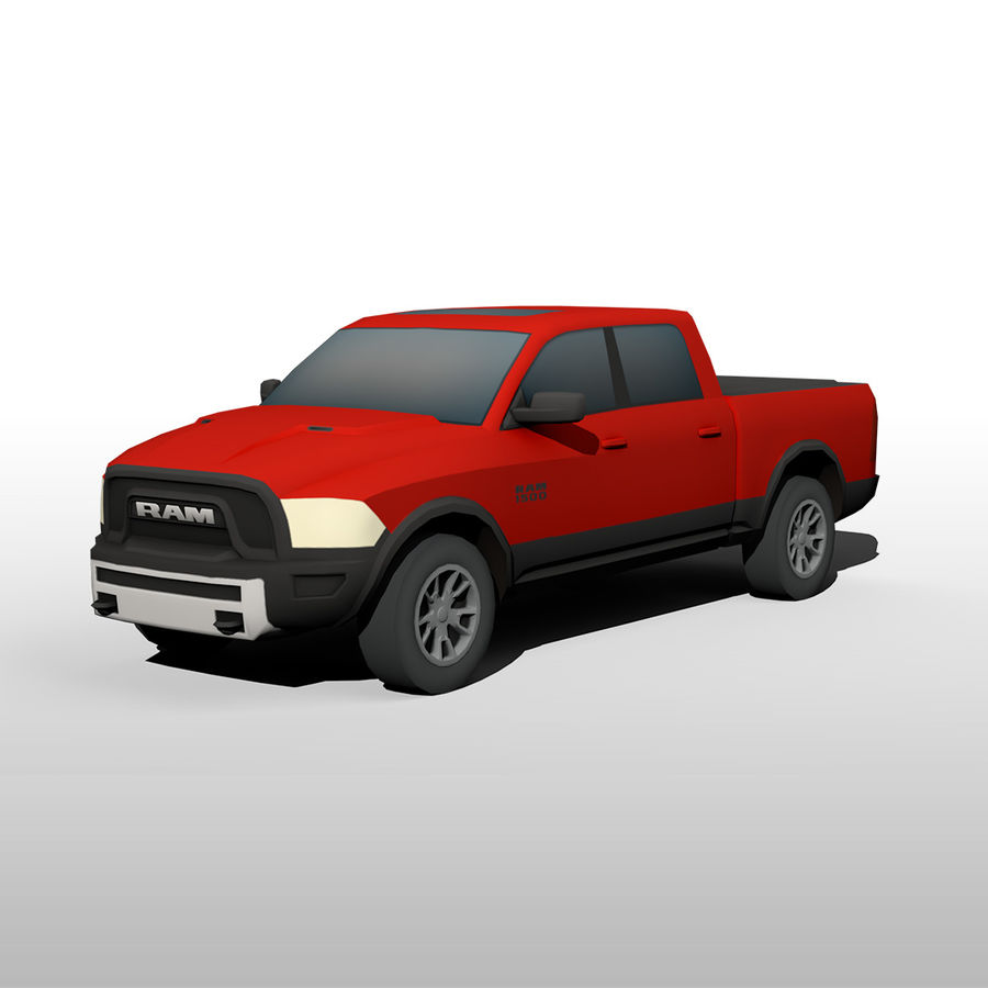 Low Poly Dodge Ram 1500 Rebel royalty-free 3d model - Preview no. 1