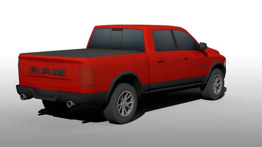 Low Poly Dodge Ram 1500 Rebel royalty-free 3d model - Preview no. 4
