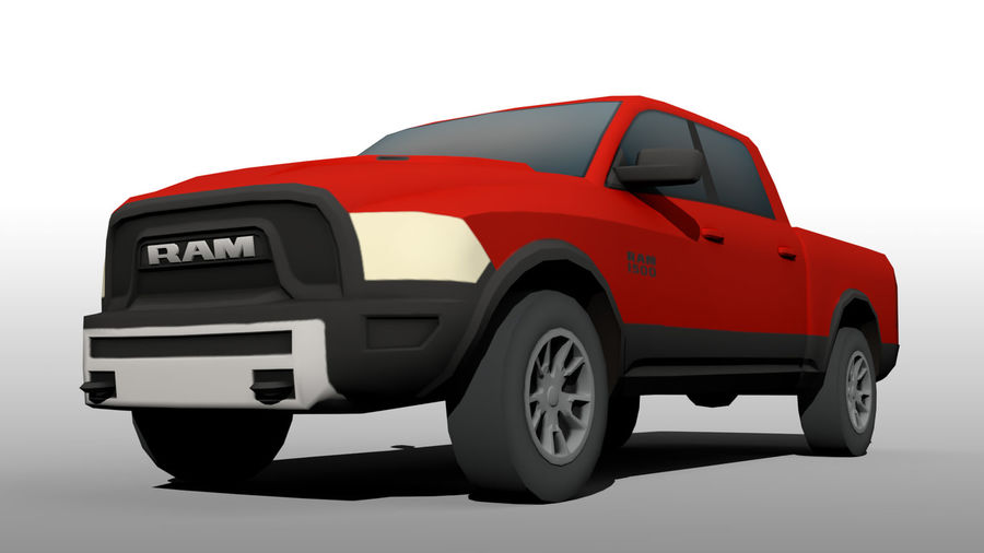 Low Poly Dodge Ram 1500 Rebel royalty-free 3d model - Preview no. 6