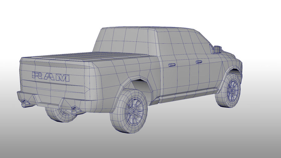 Low Poly Dodge Ram 1500 Rebel royalty-free 3d model - Preview no. 5