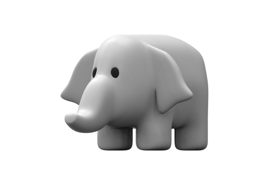 Stuffed elephant royalty-free 3d model - Preview no. 3