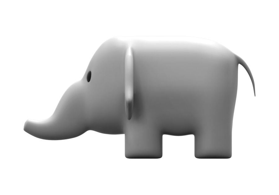 Stuffed elephant royalty-free 3d model - Preview no. 4