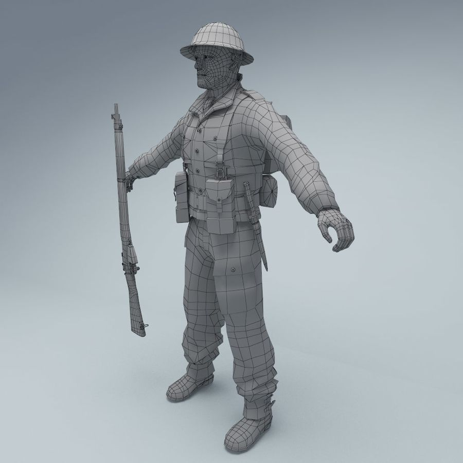 British soldier RIGGED royalty-free 3d model - Preview no. 8
