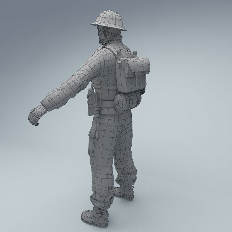 British soldier RIGGED royalty-free 3d model - Preview no. 7