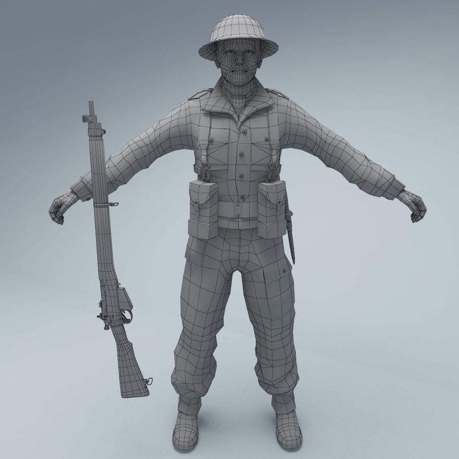 British soldier RIGGED royalty-free 3d model - Preview no. 2