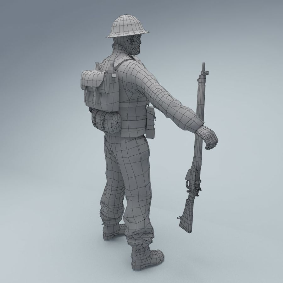 British soldier RIGGED royalty-free 3d model - Preview no. 5
