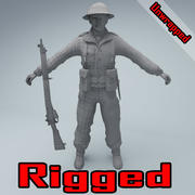 British soldier RIGGED 3d model