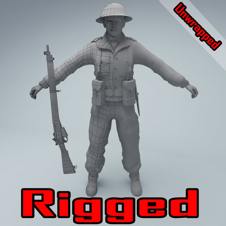 British soldier RIGGED royalty-free 3d model - Preview no. 1