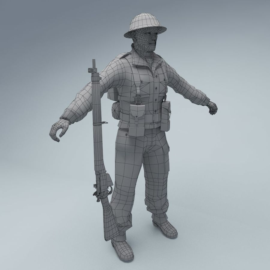 British soldier RIGGED royalty-free 3d model - Preview no. 4