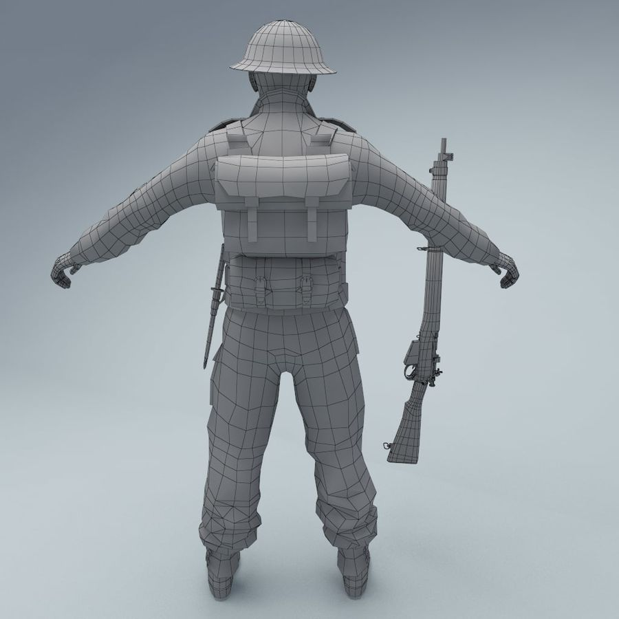 British soldier RIGGED royalty-free 3d model - Preview no. 6