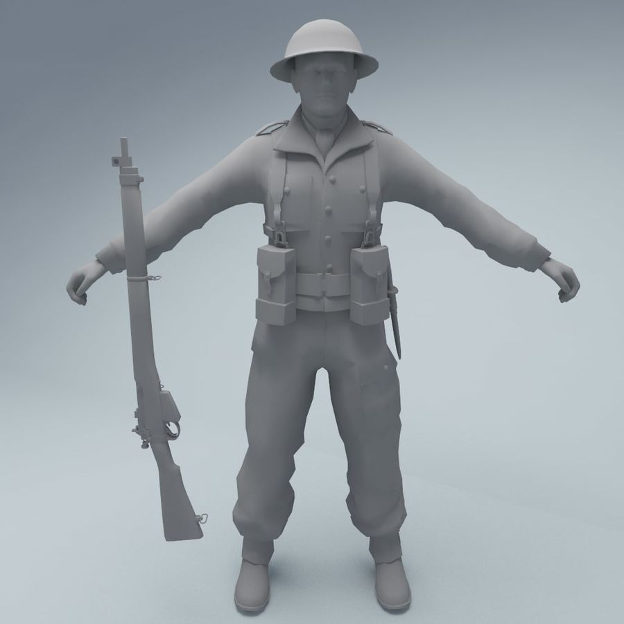 British soldier RIGGED royalty-free 3d model - Preview no. 3
