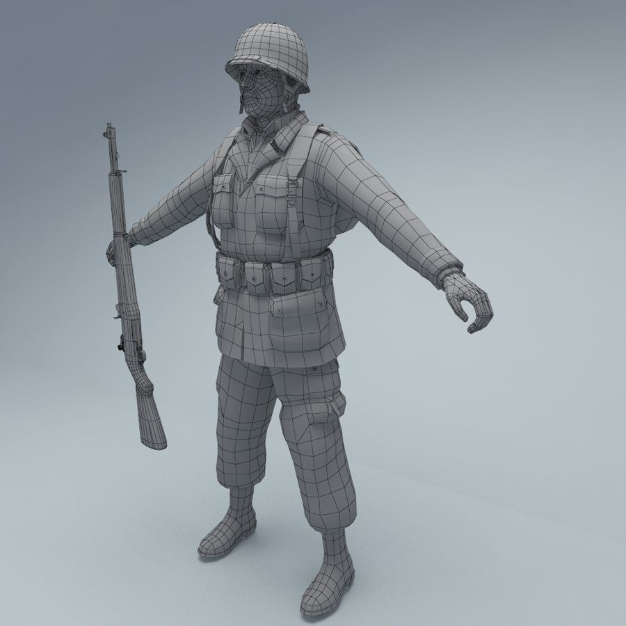 US American Soldier WW2 RIGGED royalty-free 3d model - Preview no. 4