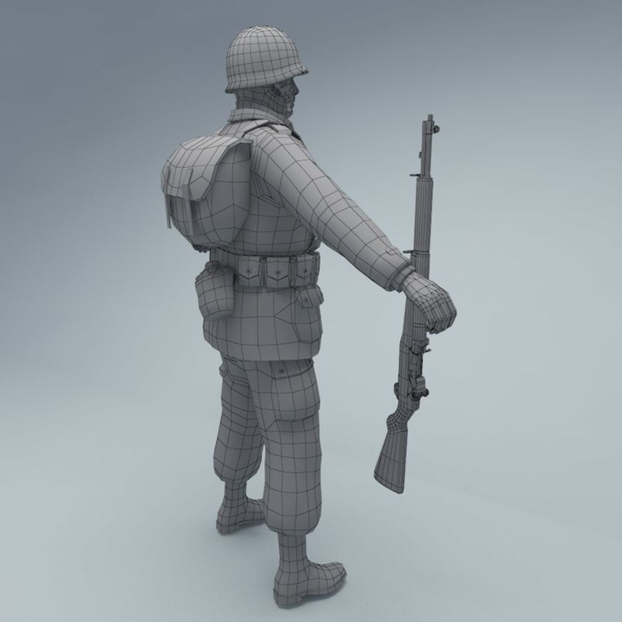 US American Soldier WW2 RIGGED royalty-free 3d model - Preview no. 7