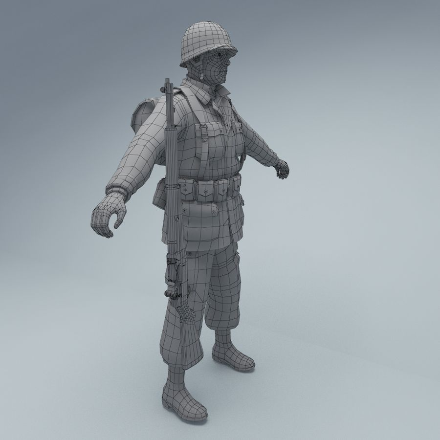 US American Soldier WW2 RIGGED royalty-free 3d model - Preview no. 8