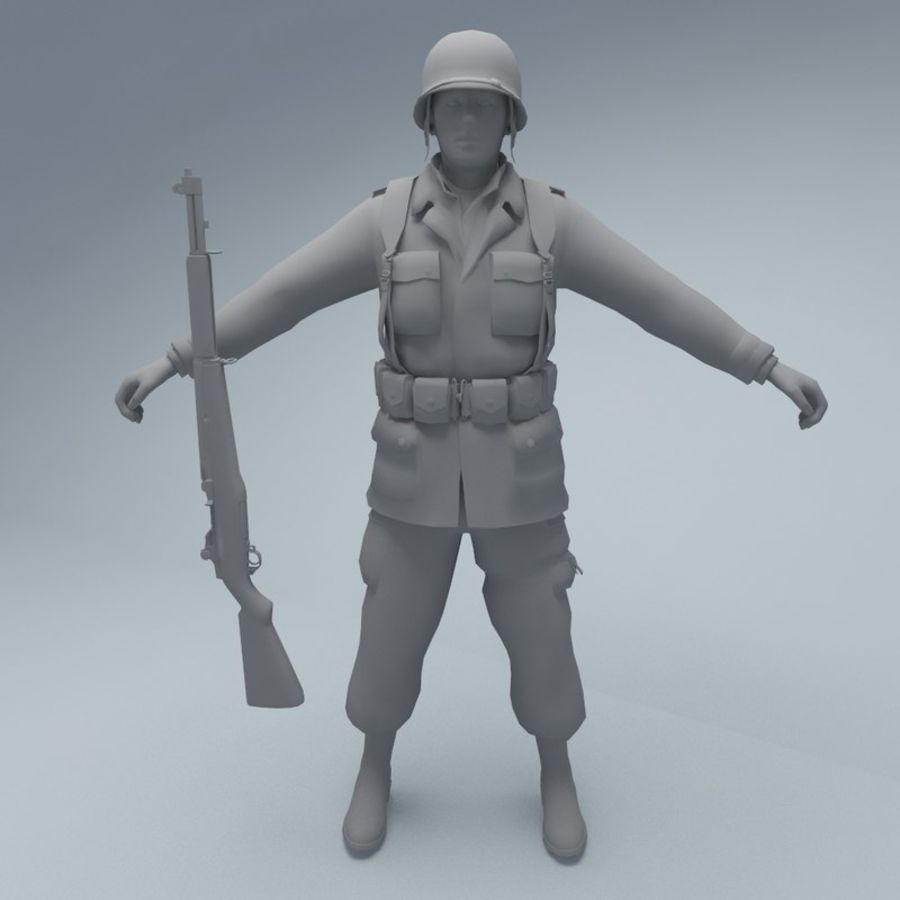 US American Soldier WW2 RIGGED royalty-free 3d model - Preview no. 3