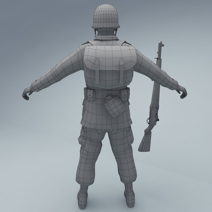 US American Soldier WW2 RIGGED royalty-free 3d model - Preview no. 6