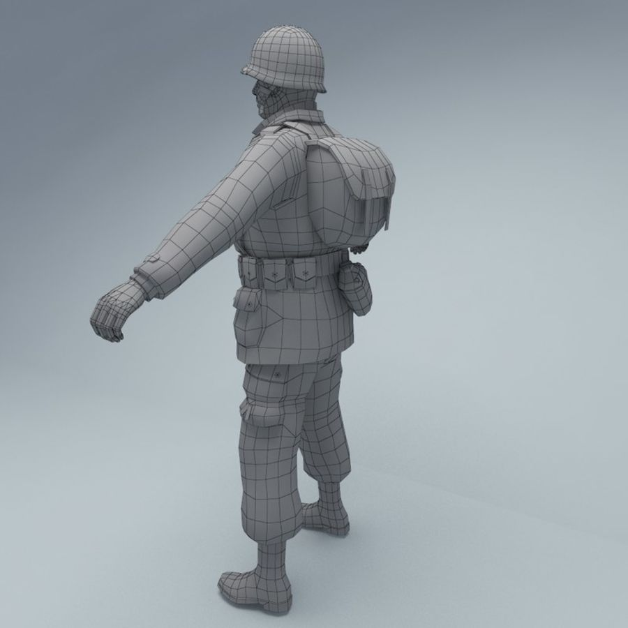 US American Soldier WW2 RIGGED royalty-free 3d model - Preview no. 5