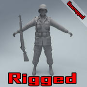 US American Soldier WW2 RIGGED 3d model