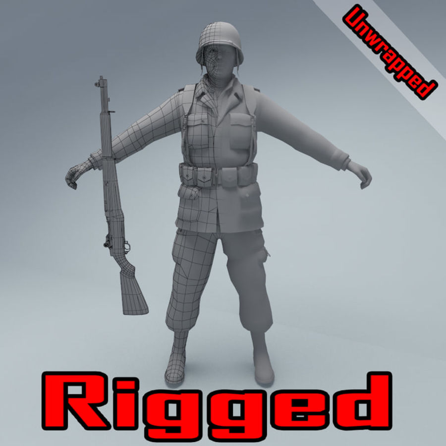 US American Soldier WW2 RIGGED royalty-free 3d model - Preview no. 1
