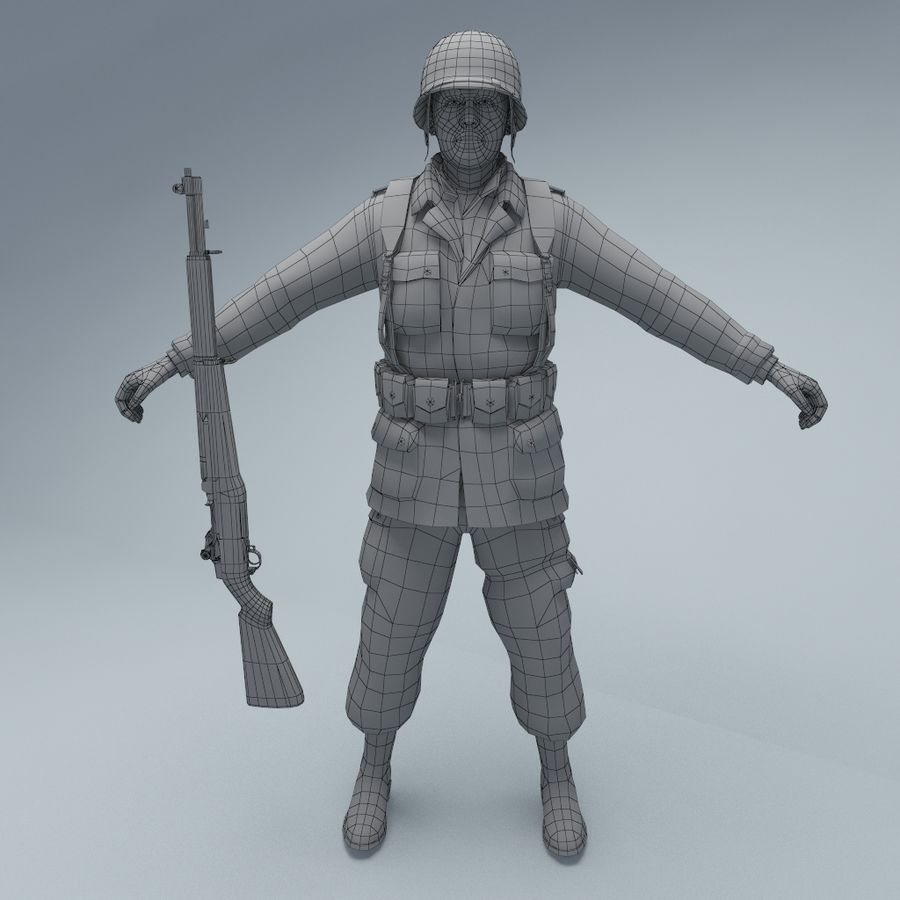 US American Soldier WW2 RIGGED royalty-free 3d model - Preview no. 2