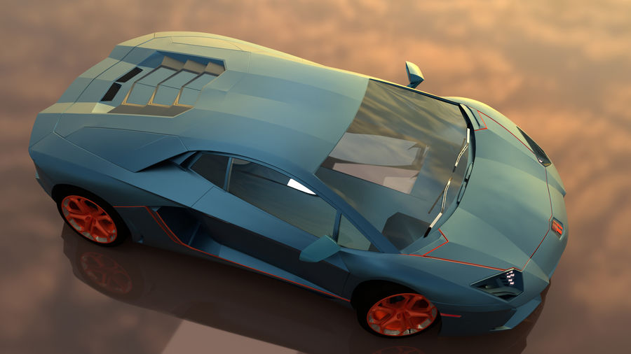 Sport Car Supercar royalty-free 3d model - Preview no. 2