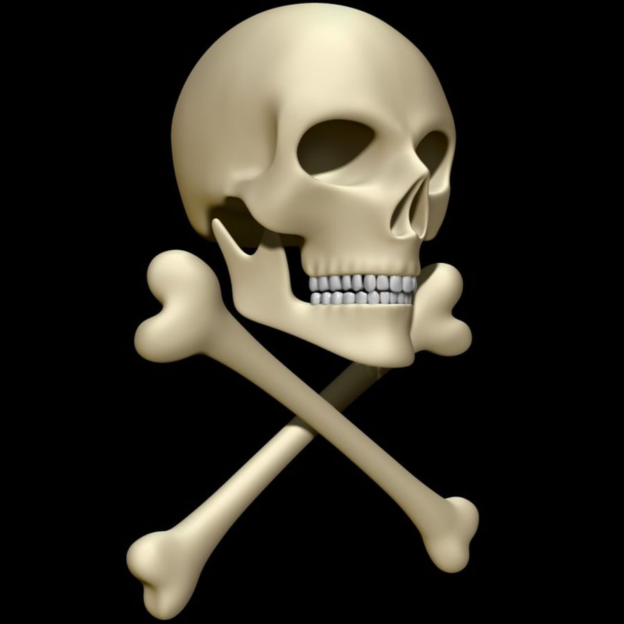 Skull cross bones royalty-free 3d model - Preview no. 2
