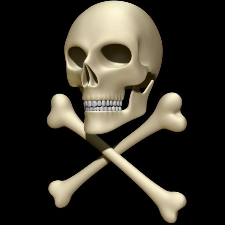 Skull cross bones royalty-free 3d model - Preview no. 8
