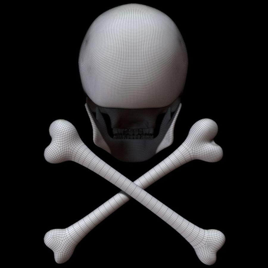 Skull cross bones royalty-free 3d model - Preview no. 15