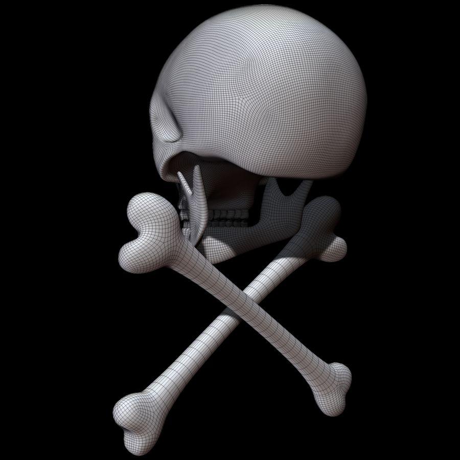 Skull cross bones royalty-free 3d model - Preview no. 16