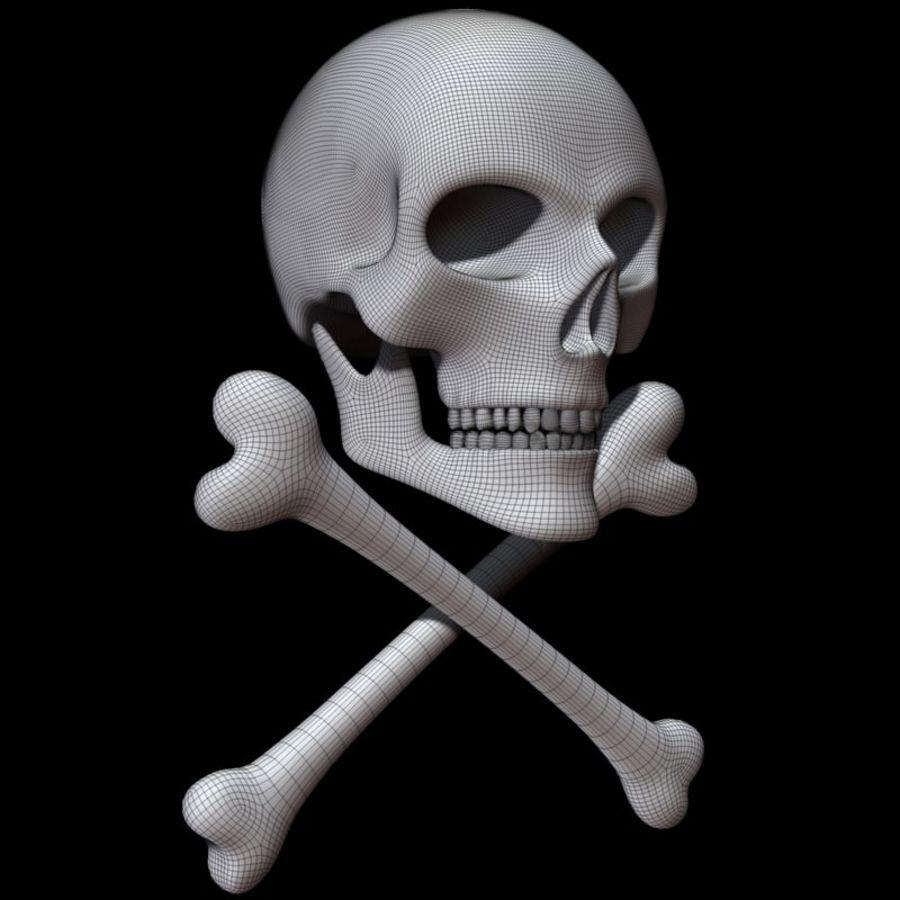 Skull cross bones royalty-free 3d model - Preview no. 12