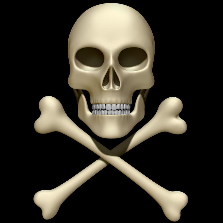 Skull cross bones royalty-free 3d model - Preview no. 1