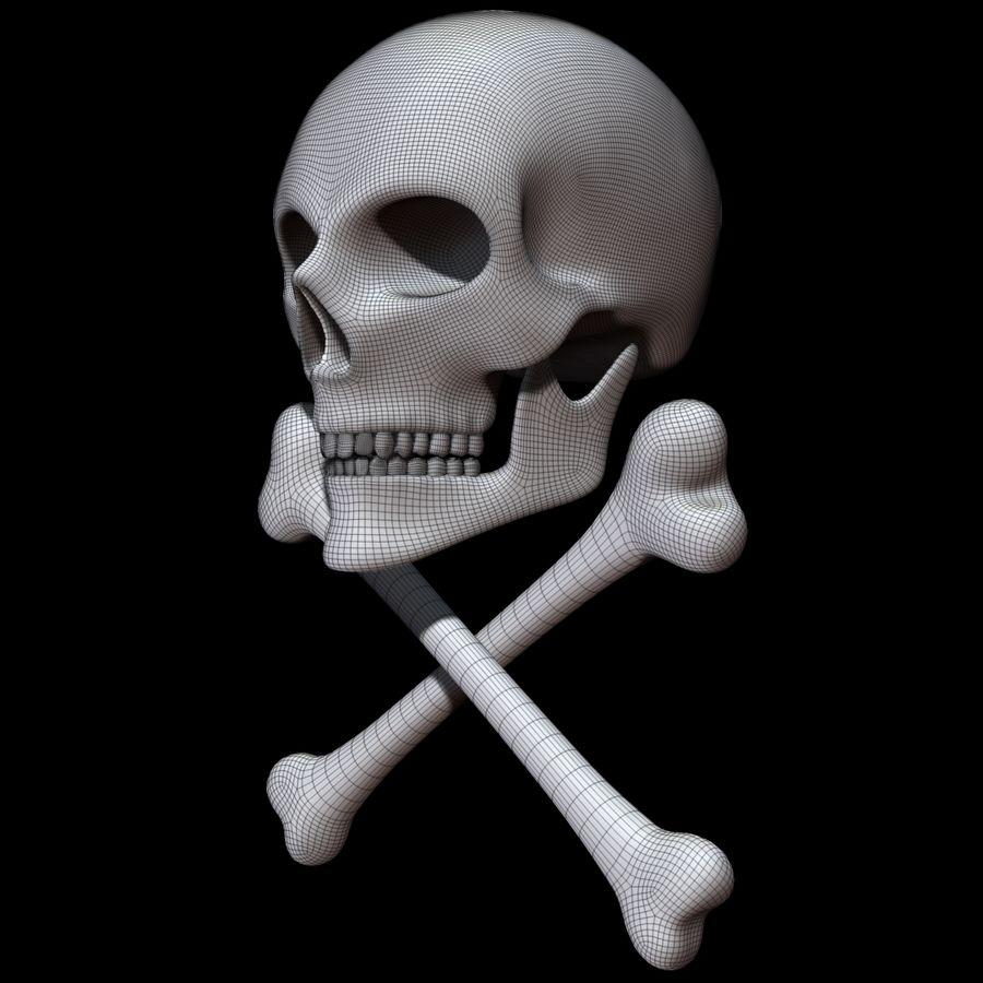 Skull cross bones royalty-free 3d model - Preview no. 18