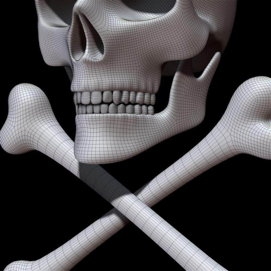 Skull cross bones royalty-free 3d model - Preview no. 22