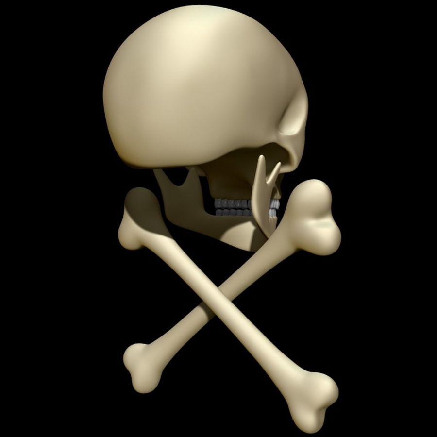 Skull cross bones royalty-free 3d model - Preview no. 4