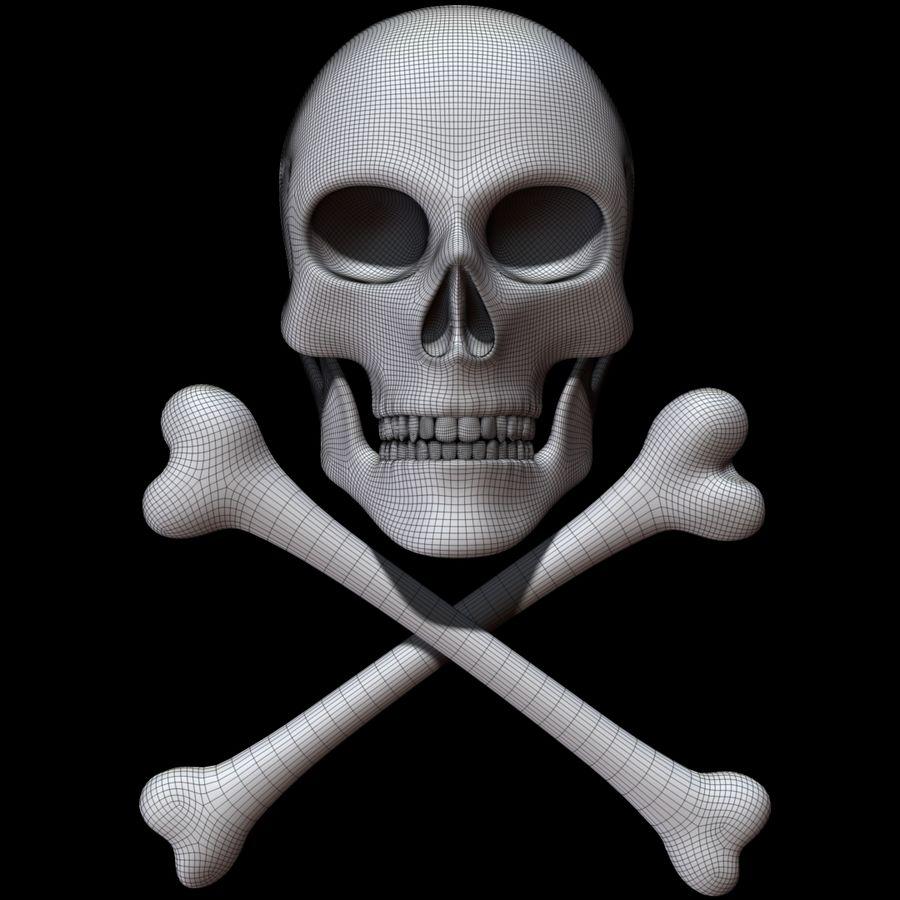 Skull cross bones royalty-free 3d model - Preview no. 11